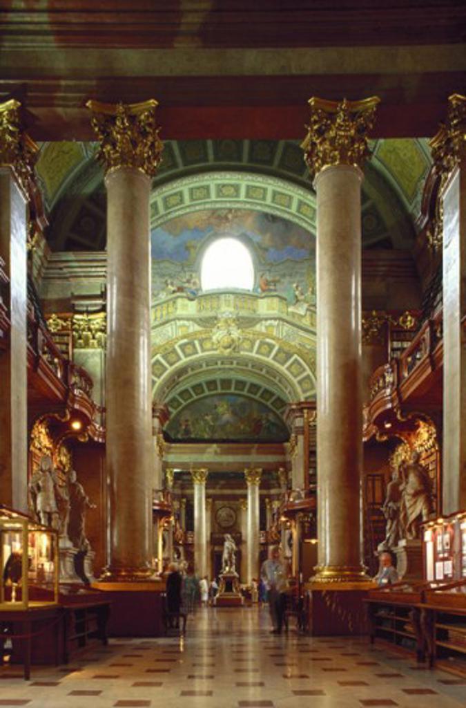 Interiors of Austrian National Library, Vienna, Austria : Stock Photo