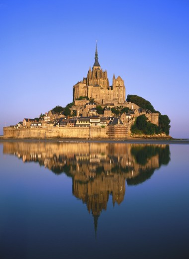 Panoramic view of Mont-Saint-Michel, Normandy, France : Stock Photo