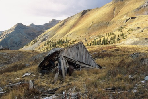 Stock Photo: 1363-181 Abandoned fallen structure, Colorado, USA