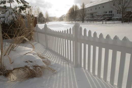 Fence on a snow covered landscape, Dover, Delaware, USA : Stock Photo