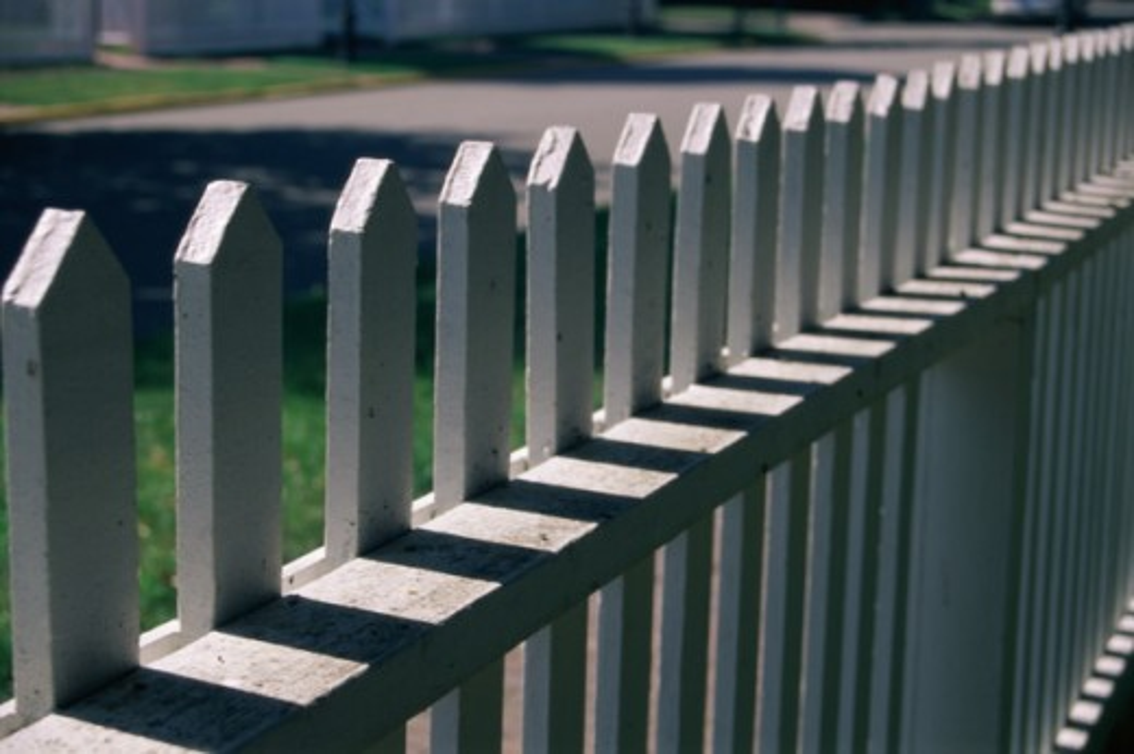 White picket fence : Stock Photo