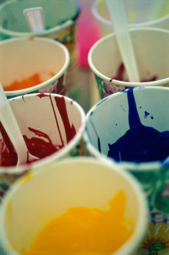 Paint in cups : Stock Photo
