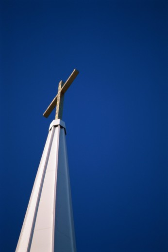 Low angle view of the steeple of a church : Stock Photo