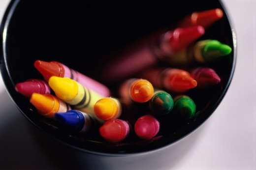 Stock Photo: 1365R-196 Close-up of crayons in a container