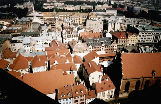 Aerial view of a city, Tallinn, Estonia : Stock Photo