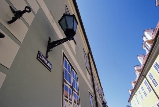 Low angle view of a lantern on a building, Riga, Latvia : Stock Photo