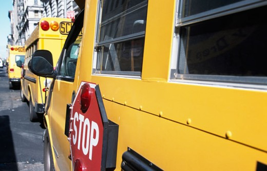 Close-up of a school bus : Stock Photo