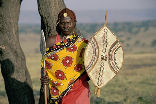 A Masai Warrior in traditional attire, Kenya : Stock Photo