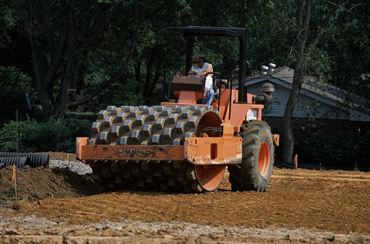 Stock Photo: 1370-41831 Sheepsfoot roller at a road construction site