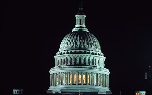 Government building lit up at night, Capitol Building, Washington DC, USA : Stock Photo