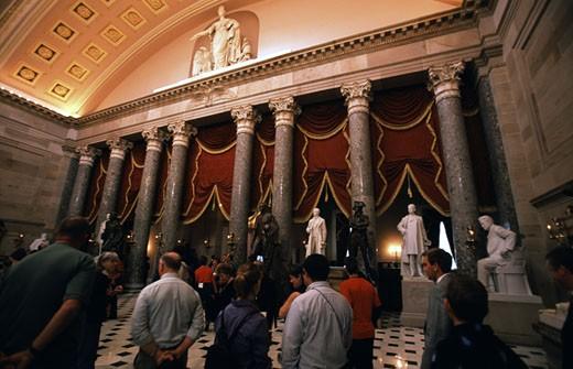 Tourists in a hall, National Statuary Hall, Capitol Building, Washington DC, USA : Stock Photo