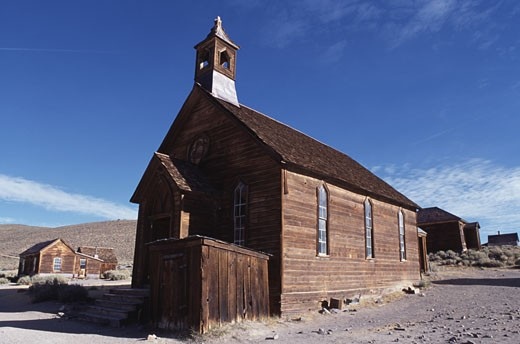 Low angle view of a Methodist Church, Bodie State Historic Park, California, USA : Stock Photo