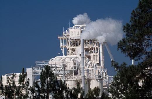 Smoke emitting from smoke stacks, Georgia, USA : Stock Photo