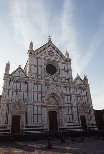Facade of a church, Church of Santa Croce, Florence, Tuscany, Italy : Stock Photo