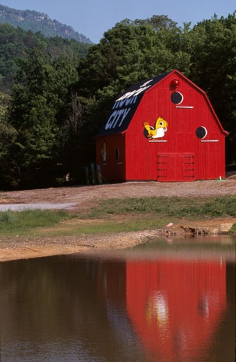 Stock Photo: 1370-5230 Reflection of an old barn in water, Alabama, USA