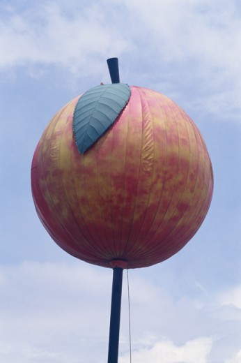 Peach sign on a pole, Bryan, Georgia, USA : Stock Photo
