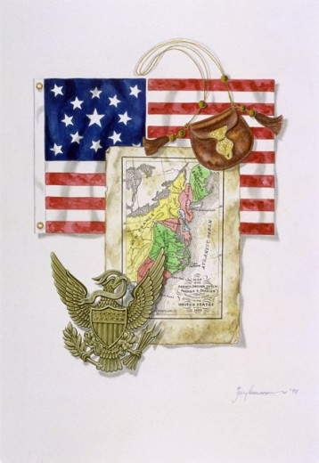 Stock Photo: 1378-108 Map, Flag & Eagle 