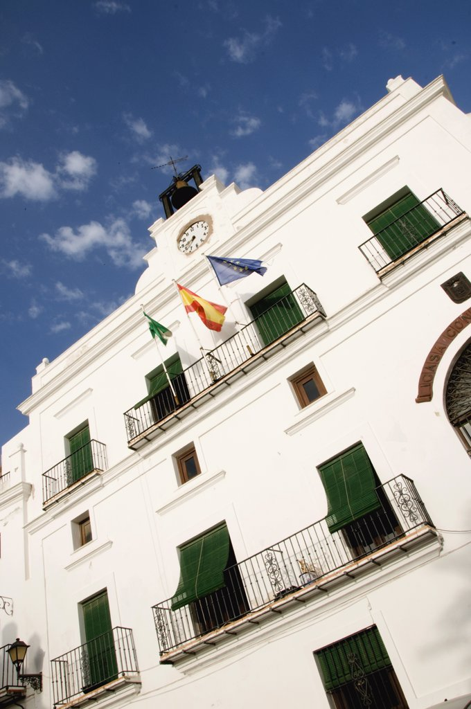 Low angle view of an ayuntamiento, Vejer De La Frontera, Cadiz Province, Andalusia, Spain : Stock Photo