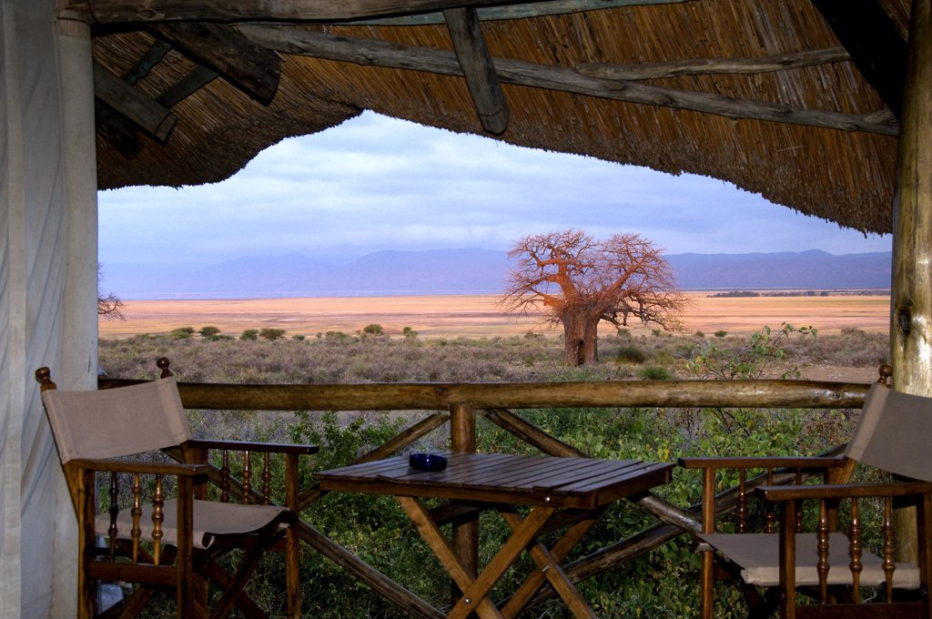 Chairs and table in a lodge, Lake Manyara National Park, Tanzania : Stock Photo