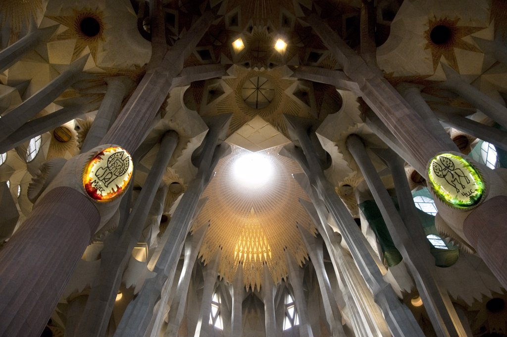 Spain, Catalonia, Barcelona, Architectural details of Sagrada Familia : Stock Photo