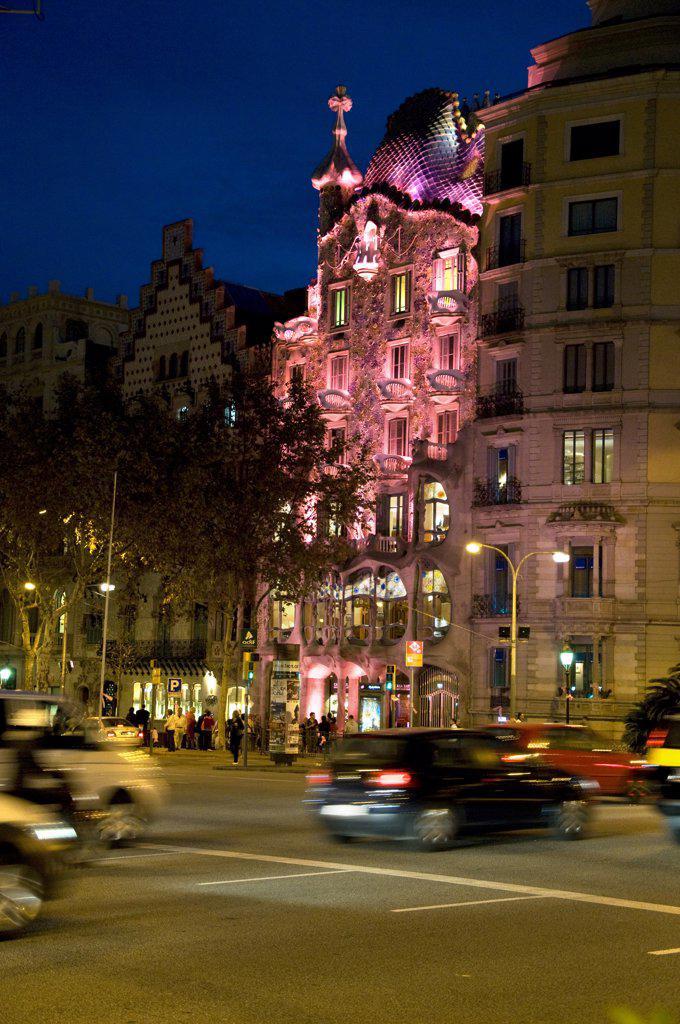 Spain, Catalonia, Barcelona, Casa Batllo illuminated at night : Stock Photo