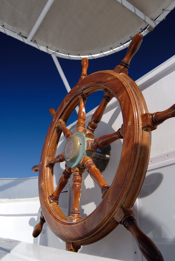 Stock Photo: 1380-666 Close-up of a helm of a boat