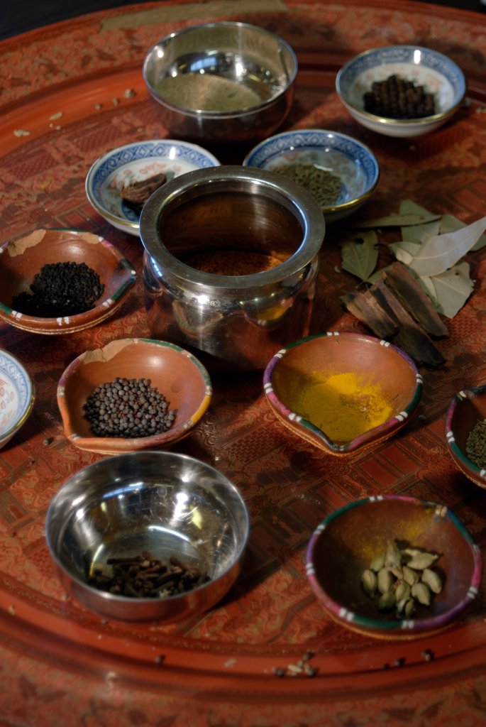 Close-up of spices in bowls : Stock Photo