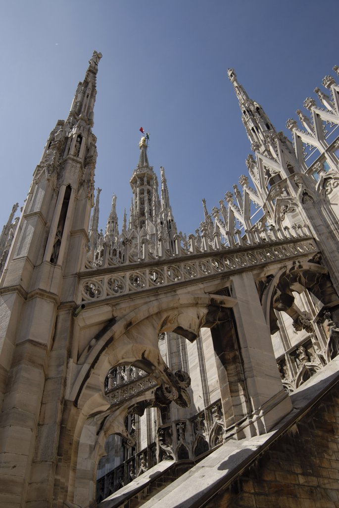 Low angle view of a church, Duomo, Milan, Lombardy, Italy : Stock Photo