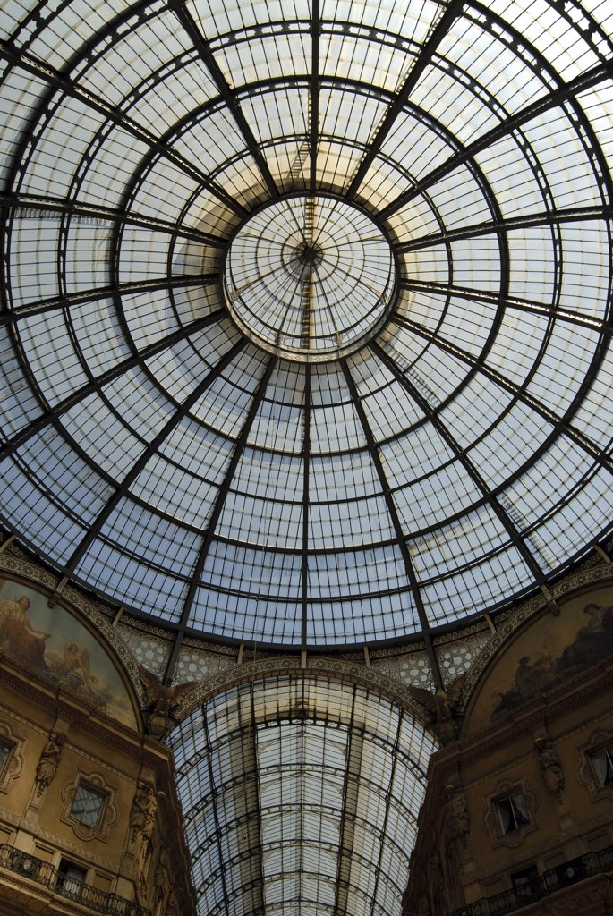 Low angle view of the ceiling of a shopping mall, Galleria Vittorio Emanuele II, Milan, Lombardy, Italy : Stock Photo