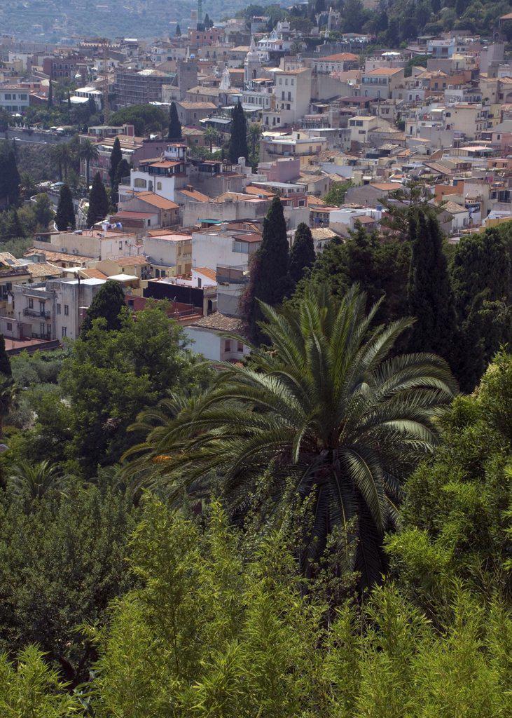 High angle view of a city, Taormina, Sicily, Italy : Stock Photo