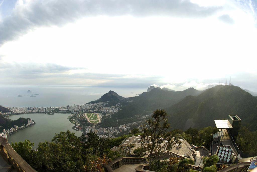 Stock Photo: 1380-882 Aerial view of a cityscape with mountains, Rio de Janeiro, Brazil