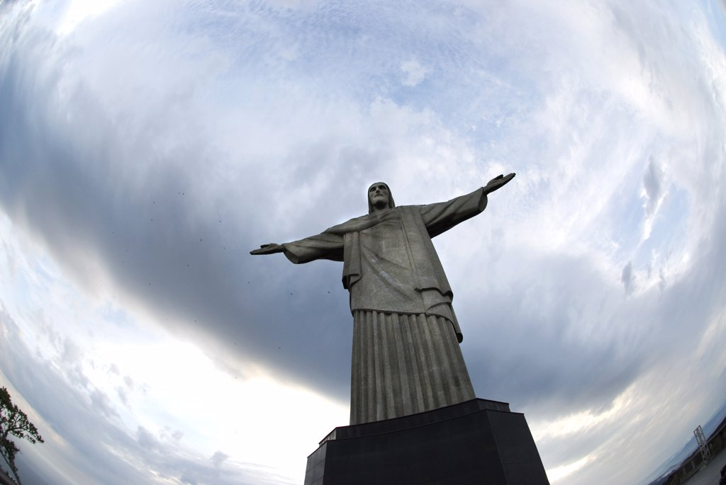 Low angle view of a statue of Jesus Christ, Christ the Redeemer, Mt Corcovado, Rio de Janeiro, Brazil : Stock Photo