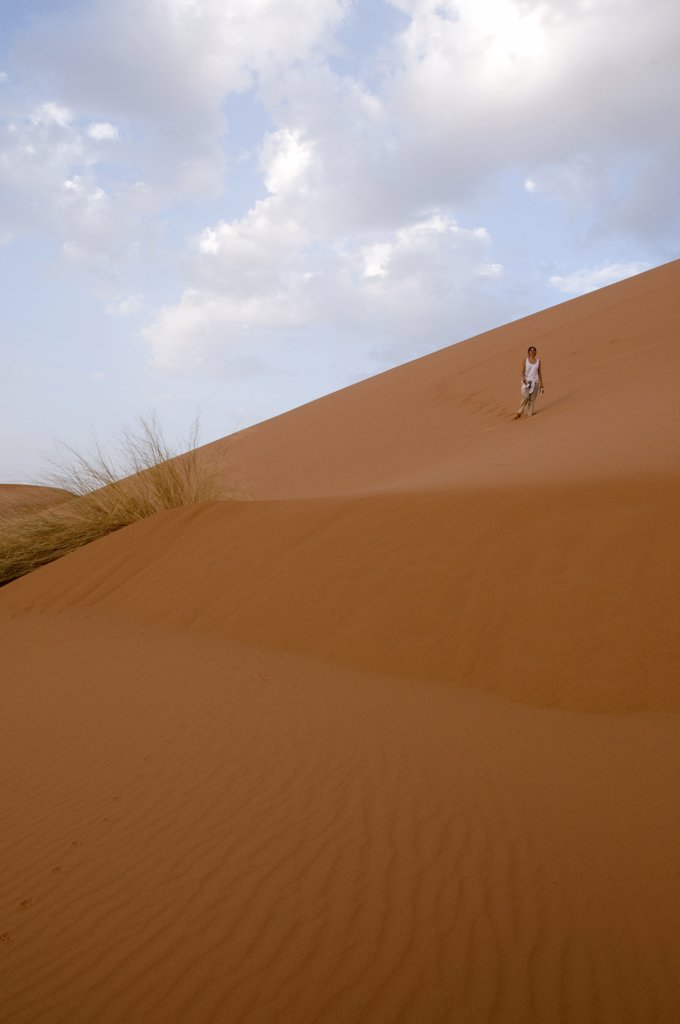 Low angle view of sand dunes, Erg Chebbi Dunes, Sahara Desert, Morocco : Stock Photo