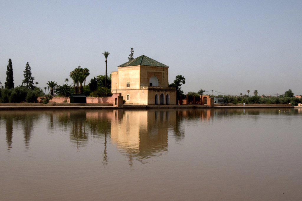 Stock Photo: 1380-961 Formal garden at the lakeside, Menara gardens, Marrakesh, Morocco