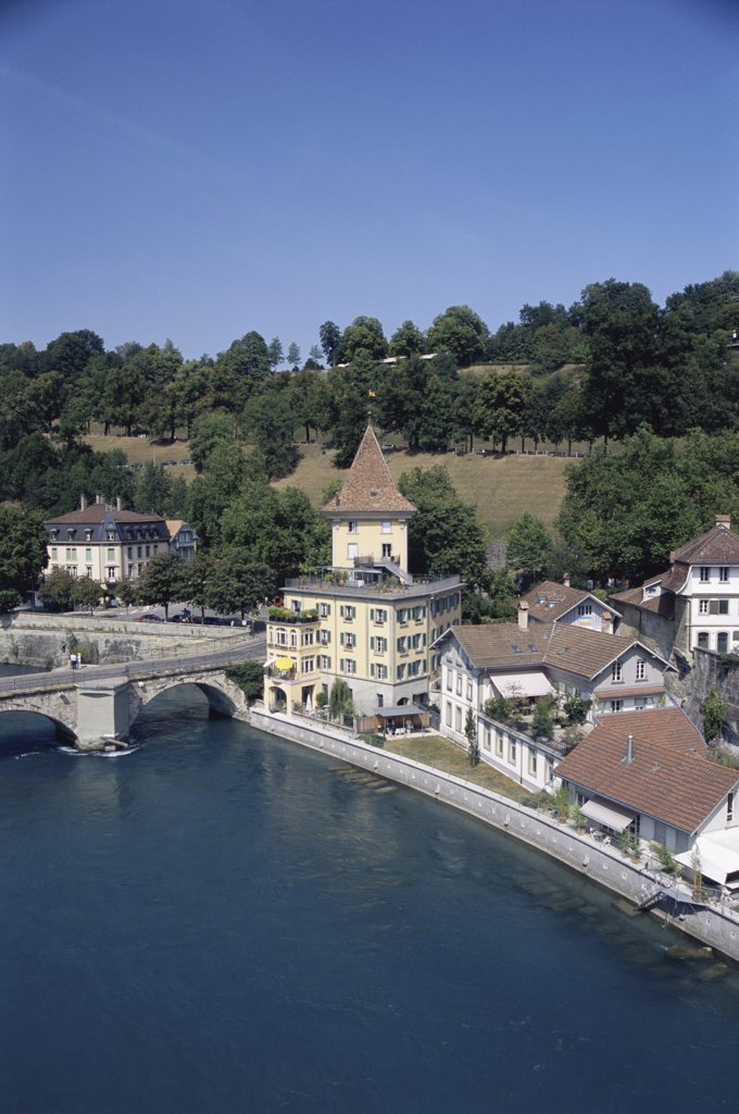 High angle view of a river, Bern, Switzerland : Stock Photo