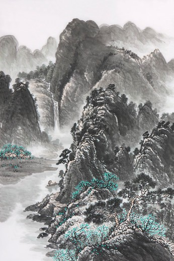 Stock Photo: 1397R-69176 Chinese Fine art, Traditional Chinese Painting, Mountain Range