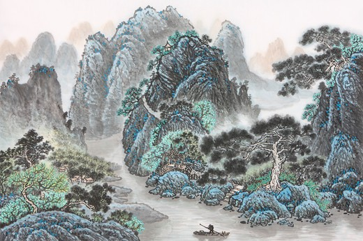 Chinese Fine art, Traditional Chinese Painting, Mountain Range : Stock Photo