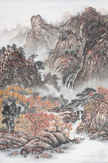 Stock Photo: 1397R-69196 Chinese Fine art, Traditional Chinese Painting, River, Mountain