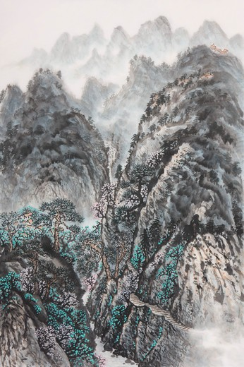 Chinese Fine art, Traditional Chinese Painting, Mountain : Stock Photo