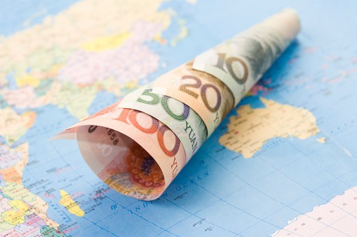 Stock Photo: 1397R-69643 China Currency and world map