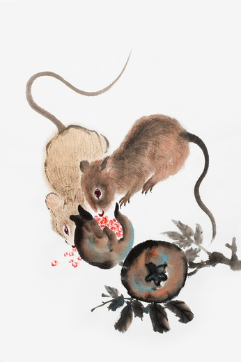 Stock Photo: 1397R-69726 Chinese Fine art, Traditional Chinese Painting, Year of The Rat