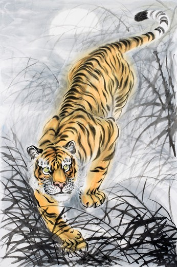 Stock Photo: 1397R-69734 Chinese Fine art, Traditional Chinese Painting, Year Of The Tiger