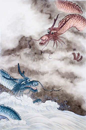 Chinese Fine art, Traditional Chinese Painting, Year Of The Dragon : Stock Photo