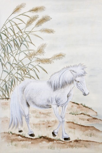 Chinese Fine art, Traditional Chinese Painting, Year Of The Horse : Stock Photo