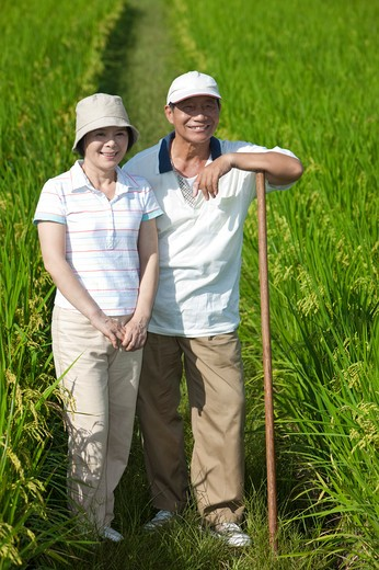 Farmer couple standing in rice field, man leaning on hoe : Stock Photo