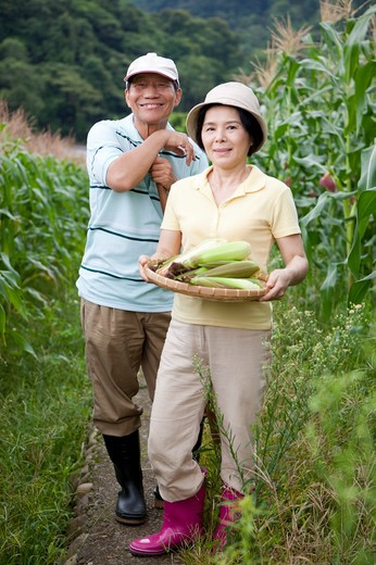 Stock Photo: 1397R-70546 Farmer couple in corn field, woman holding a sieve of corns