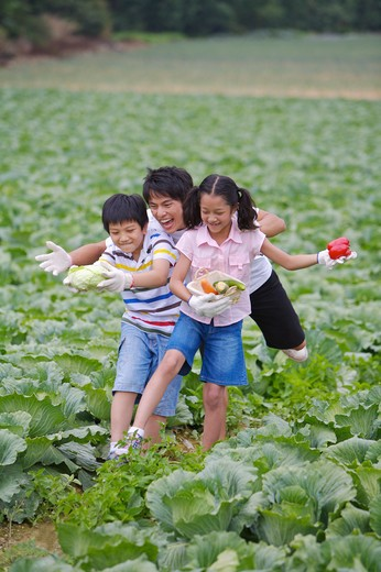 Young man with two children playing in the vegetable garden and smiling happily : Stock Photo