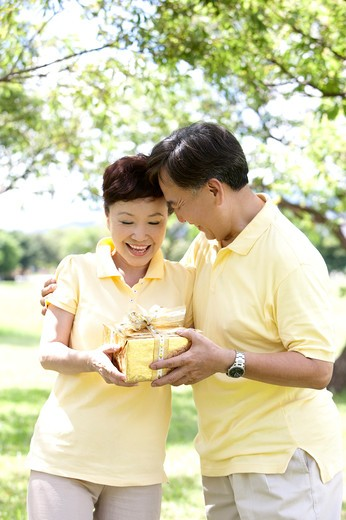 Stock Photo: 1397R-71161 Senior man giving wife a present