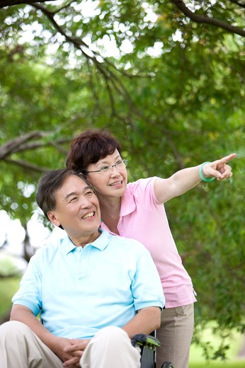 Senior couple in a park : Stock Photo