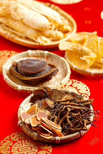 Stock Photo: 1397R-72111 Hairy Antler, Chinese Caterpillar Fungus, Ginseng, Abalone, Chinese Herbal Medicine